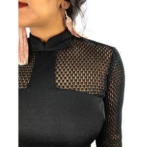 1970s custom made black crotchet A-line gown